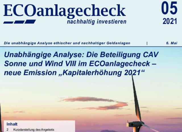 ECOanlagecheck CAV Sonne und Wind VIII vom ECOreporter