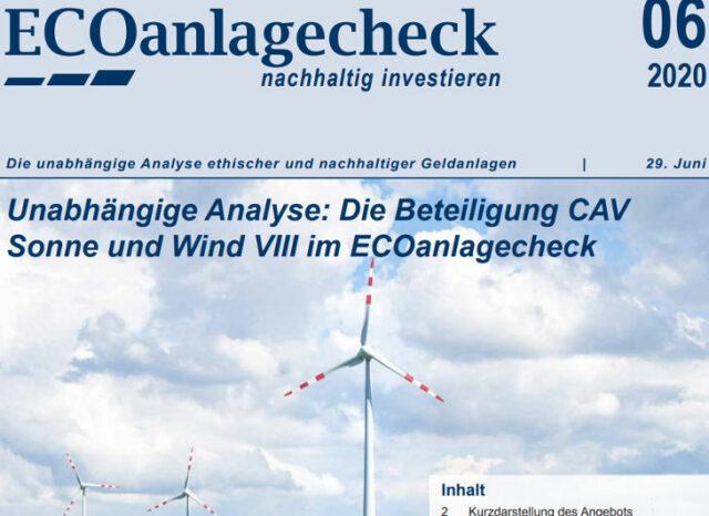 CAV Sonne Wind VIII - ECOanlagecheck