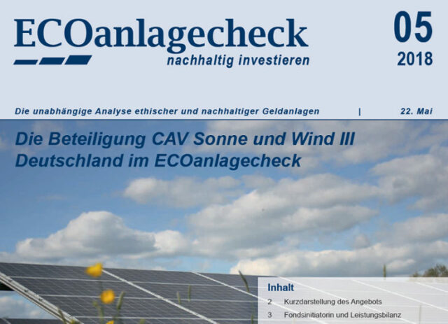 ECOanlagecheck CAV Sonne Wind III