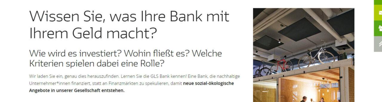 GLS Bank eG - ökologisch-genossenschaftliche Bank seit 1974